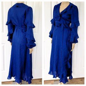 Tory Burch longsleeve cobalt blue wrap Ruffledress